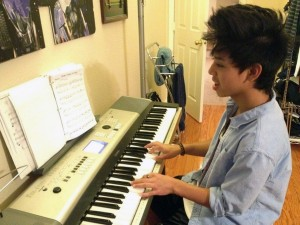 "Tim Jauregui, freshman, practices one of his favorite songs, ""Feather"" by Nujabes. <br />Photo Credit: Nathan Jauregui"