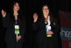 Junior Casandra Carrasco and senior Jessica Wolf pledge that they will fulfill the duties of their Nevada HOSA state officer position on stage, in front of 500 future health professionals.Photo Credit: Bserat Ghebremicael