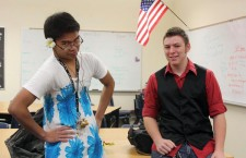 "Sophomore Joseph Salvador and senior Alejandro Sanchez participate in ""Dress vs Vest Day.""Photo Credit: Allison Ho"