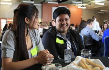National Honor Society Secretary Katrina Solangon and National Honor Society Treasurer RJ Reyes enjoy a student cooked meal at the luncheon.Photo Credit: Bree Eure