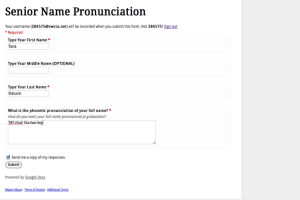 A Google Doc has been sent out for students to ensure that their name is pronounced correctly during the graduation ceremony.<br>Photo Credit: Tazia Statucki