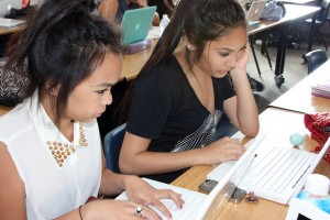 """Fashion Design Juniors Amber Samiano and Gabrielle Valerio are writing their scripts for Mr. Moore's PBL. """"My group's dominant presidential campaign topic is about Same-Sex Marriage,"""" Samiano said. <br />Photo Credit: Michelle Manuel"""