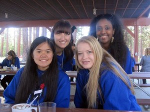 Seniors Kristelle Dealca, Stephanie Stewart, Lacey Long, and Bserat Ghebremicael take a quick picture after an early breakfast at Nevada Girls' State, which was held in July.<br />Photo Credit: Bserat Ghebremicael