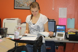 Student body president, Lacy Long, prepares her opening speech for Coyote Congress on Oct. 5.<br />Photo Credit: Bree Eure