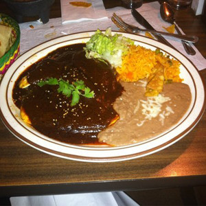 Lindo Michoacan offers many authentic Mexican food combinations like Mole with rice, beans, and a small salad.<br />Photo Credit: Stefani Cervantes