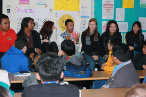 Students look on as SWCTA alumni Patrick Alejaga tells the class information about what commuting to college is like.Photo Credit: Hailey Basner