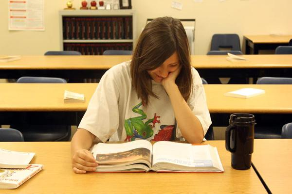 Sophomore Zowie Hart studies for the AP World History practice exam after school.Photo Credit: Allison Ho