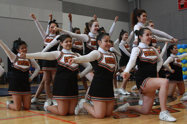 The Southwest Cheer Club performs at the Battle of the Sexes Assembly on March 1st. The club recently placed 2nd in their division at the Sharpe International National Cheerleading Competition.Photo Credit: April Bitanga