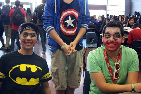 Seniors Jamie Fajardo and John Morales had their makeup done, during a lunchtime game during the Battle of the Sexes. Some seniors participate in these spirit days, They took the initiative to participate in an event that brings more school spirit, unlike those who decided to watch in the background.<br>Photo Credit: Michelle Manuel