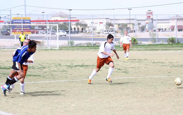 Freshman Noe Alcala races for the ball during last Friday's game against East Career and Technical Academy. Southwest lost the game 0-5.<br>Photo Credit: Tamara Navarro