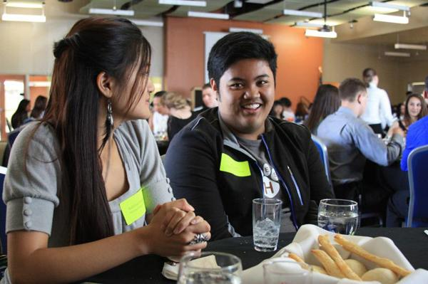 National Honor Society Secretary Katrina Solangon and National Honor Society Treasurer RJ Reyes enjoy a student cooked meal at the luncheon.<br>Photo Credit: Bree Eure