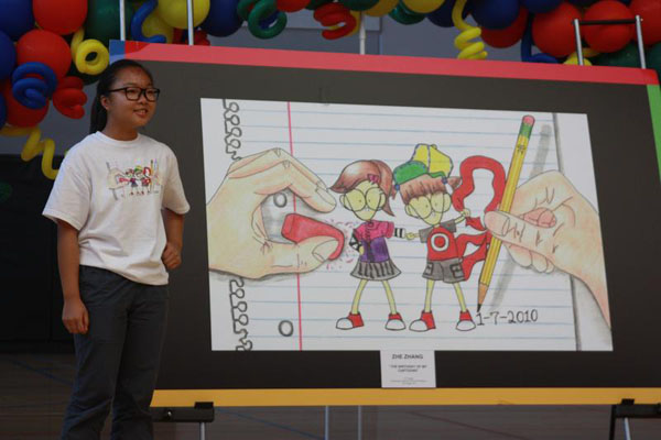 Zhe Zhang stands next to her winning illustration for this year's Doodle 4 Google contest.<br>Photo Credit: Allison Ho