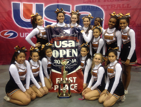 "The Coyote Cheer Club wins first place at the United Spirit Association at the University of Nevada, Las Vegas (UNLV) on Feb. 8. ""The girls on the team are very dedicated and they love to beat the other schools,"" Coach Sheila Petrosky said.  Photo Credit: Cindi Chang"