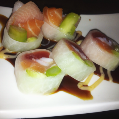 The Sashimi Rolls, which were tuna, salmon, shrimp, cucumber, and asparagus rolled into strips of daikon radish, tasted fresh and slightly sweet.  Photo Credit: Ysabel Buenaventura