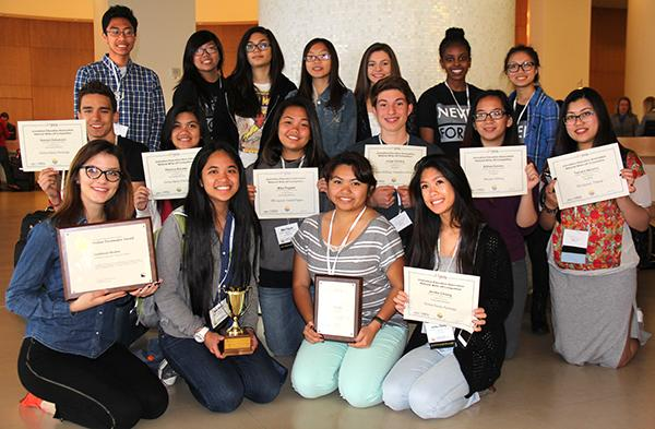 The staffs of both the Southwest Shadow and The Howl showcase their combined awards earned during the JEA/NSPA San Diego conference. Photo Credit: Mr. Matthew LaPorte
