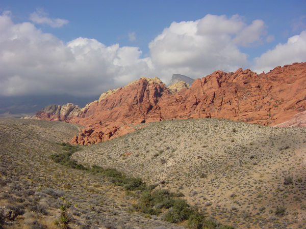 The best place to go hiking is the Red Rock Canyon. At the Red Rock Canyon, you can exercise your muscles while enjoying a beautiful, scenic view of the canyon.  Photo Courtesy of Wikimedia