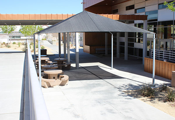 The shade structure took approximately two days to construct. However, the final product will be later modified to fit the expectations of the administrative team and student body.  Photo Credit: Helen Abraha