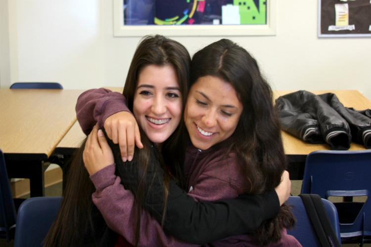 """Juniors Janessa Montenegro and Crystal Menjivar forgive each other and resolve the friendship. """"To relieve my stress if someone is giving me a hard time, I won't look at them differently. I'll just go to my mom or sister for advice,"""" Montenegro said. Photo Credit: Alyssa Ross"""